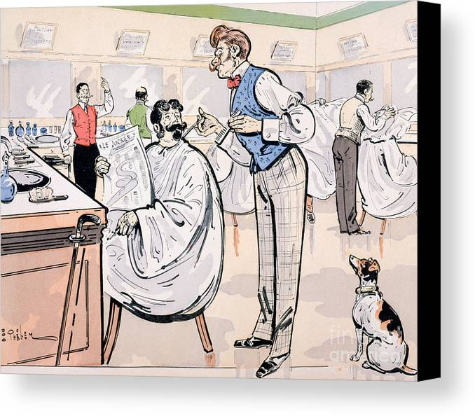 Thelem Canvas Print featuring the painting At The Barber And Reading Le Jockey by Thelem