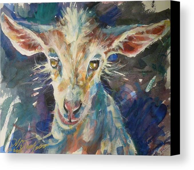 Baby Canvas Print featuring the painting Baby Goat by Dale Jorgensen