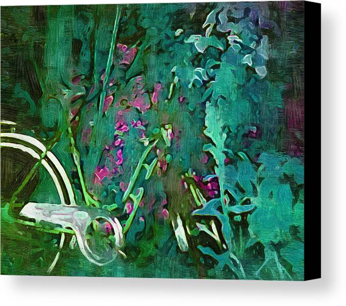 Canvas Print featuring the digital art Bike In The Forest by Philip Dammen