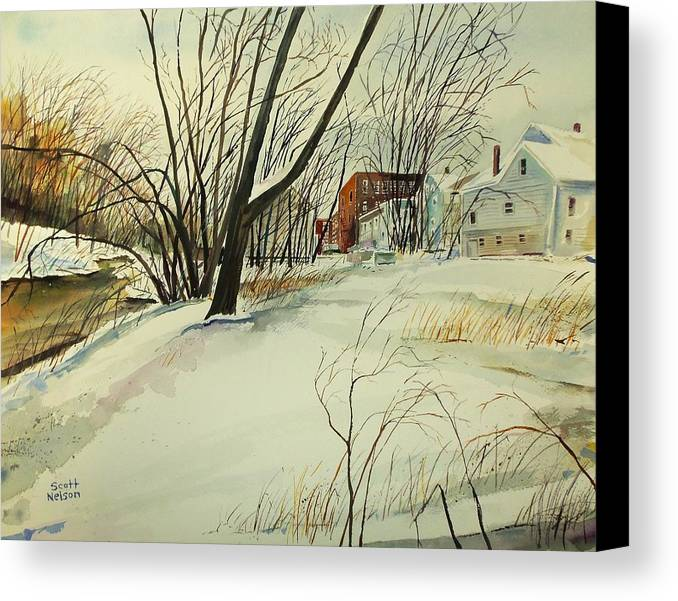 Watercolor Canvas Print featuring the painting Blackstone River Snow by Scott Nelson