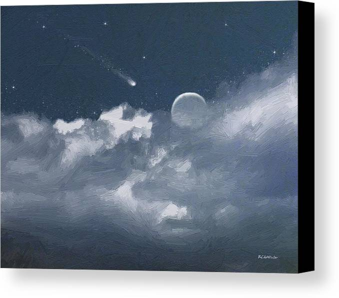 Clouds Canvas Print featuring the painting Celestial Night by RC DeWinter