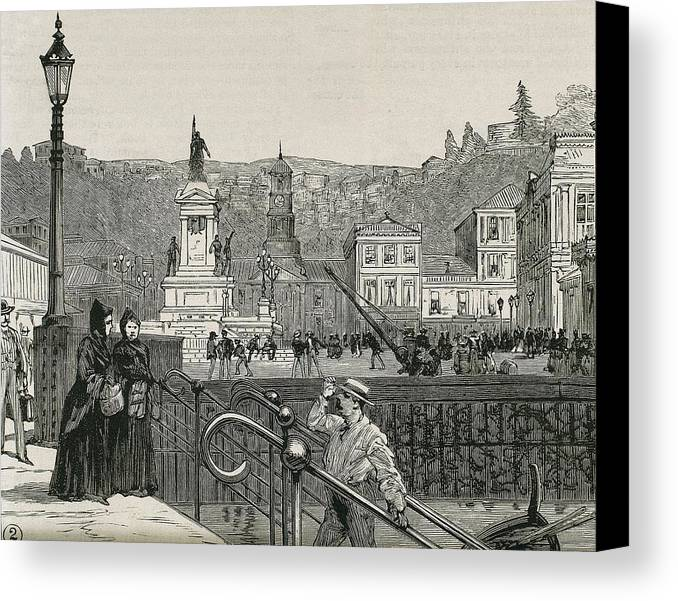 Horizontal Canvas Print featuring the photograph Chile. Valpara�so. Square In 1891 by Everett
