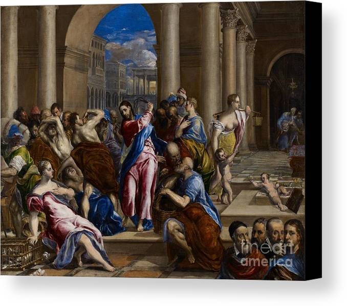 Jesus Canvas Print featuring the painting Christ Driving The Money Changers From The Temple by El Greco