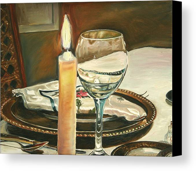 Still Life Canvas Print featuring the painting Christmas Dinner With Place Setting by Jennifer Lycke