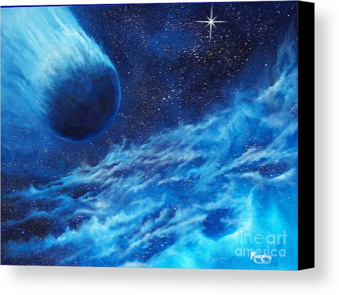 Astro Canvas Print featuring the painting Comet Experience by Murphy Elliott