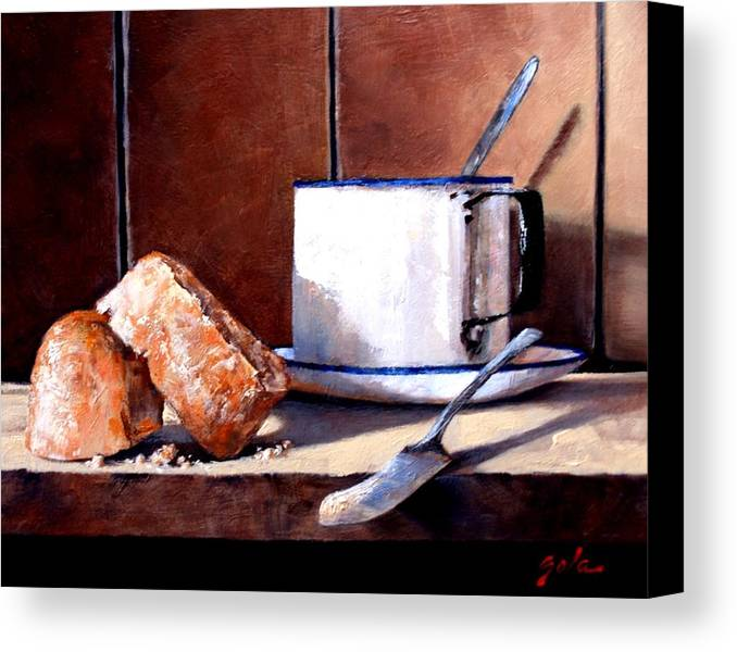 Still Life Canvas Print featuring the painting Daily Bread Ver 2 by Jim Gola