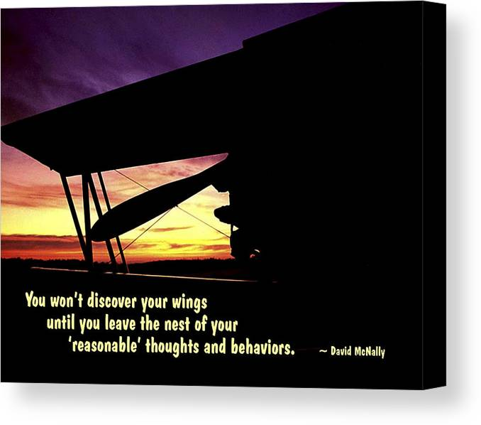 Quotation Canvas Print featuring the photograph Discover Your Wings by Mike Flynn
