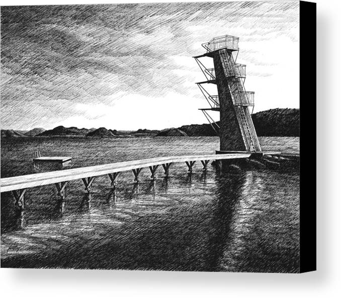 Diving Board Canvas Print featuring the drawing Farsund Badehuset In Ink by Janet King