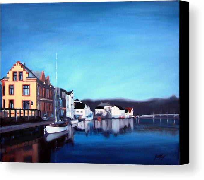 Dock Canvas Print featuring the painting Farsund Dock Scene I by Janet King