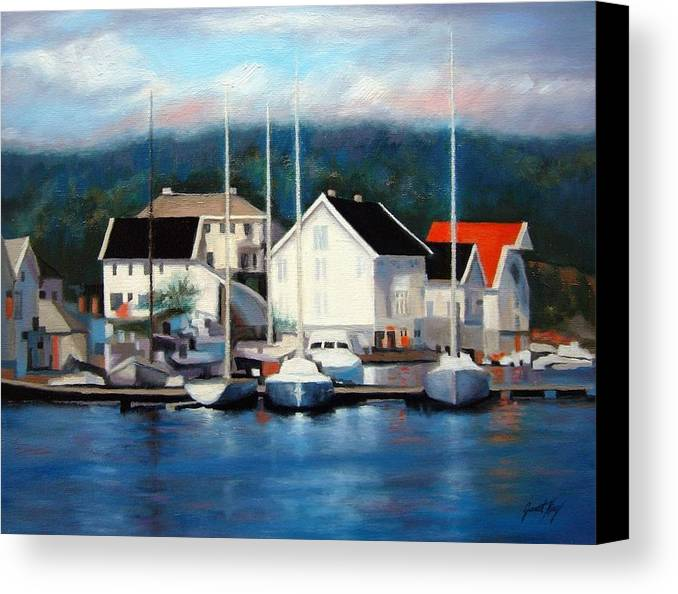 Seascape Canvas Print featuring the painting Farsund Dock Scene Painting by Janet King