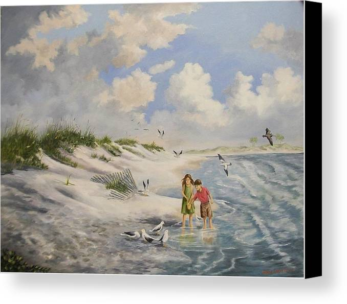 2 Children Canvas Print featuring the painting Feeding The Wildlife by Wanda Dansereau
