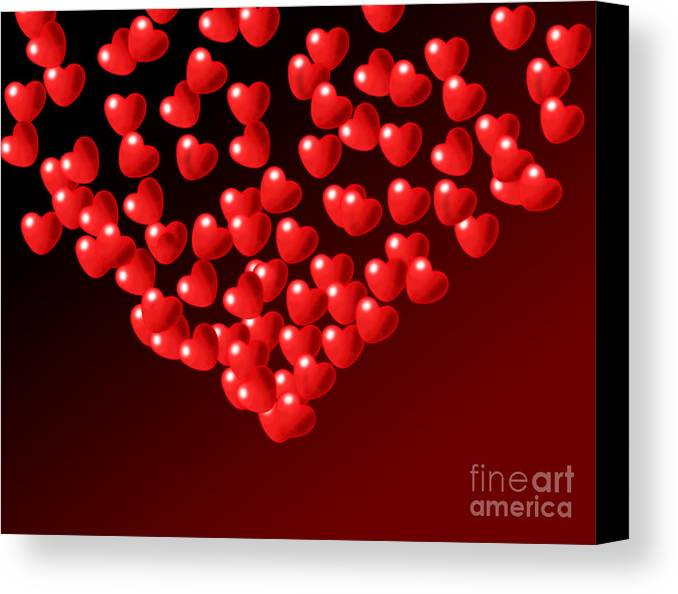 Wallpaper Canvas Print featuring the digital art Fountain Of Love Hearts by Kiril Stanchev