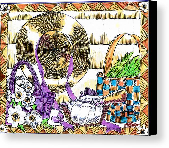 Gardener's Basket Canvas Print featuring the drawing Gardener's Basket by Seth Weaver