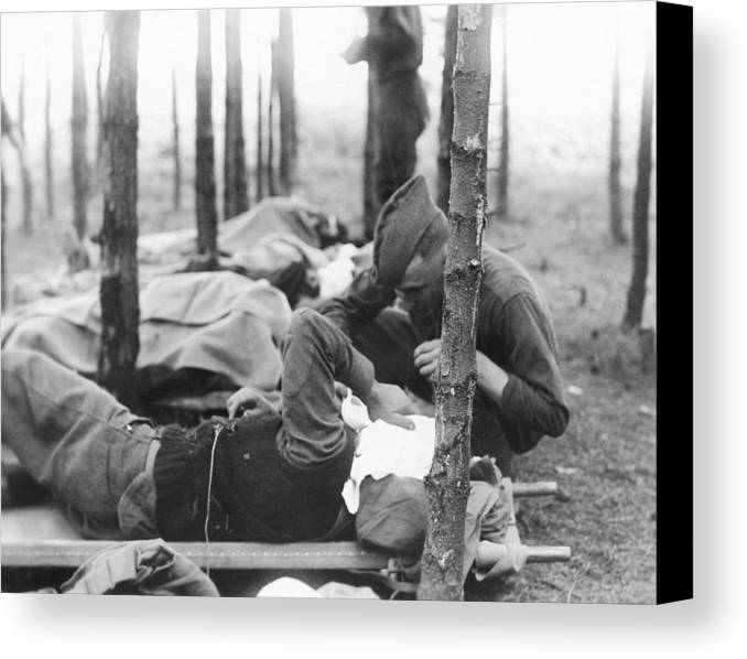 Human Canvas Print featuring the photograph Gassed Soldier by Otis Historical Archives, National Museum Of Health And Medicine