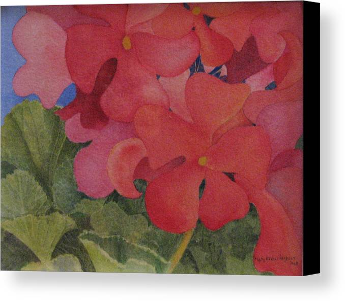 Florals Canvas Print featuring the painting Generium by Mary Ellen Mueller Legault