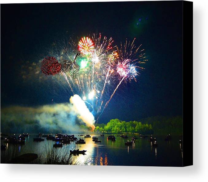 Fireworks Canvas Print featuring the photograph Grand Finale Over The Lake by Sandi OReilly