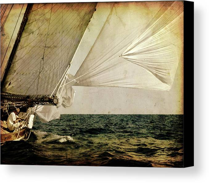 Tall Canvas Print featuring the photograph Hanged On Wind In A Mediterranean Vintage Tall Ship Race by Pedro Cardona Llambias