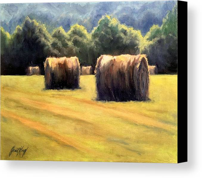 Hay Bales Canvas Print featuring the painting Hay Bales by Janet King