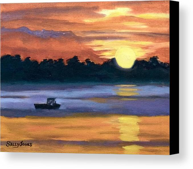 Fishing Boat Canvas Print featuring the painting Heading For Home by Sally Jones