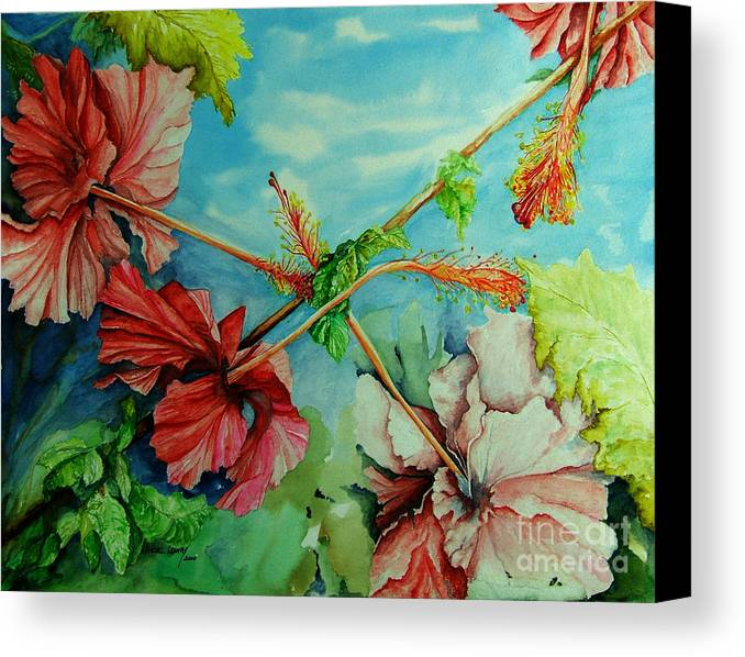 Red Canvas Print featuring the painting Hiroko's Hibiscus 3 by Rachel Lowry