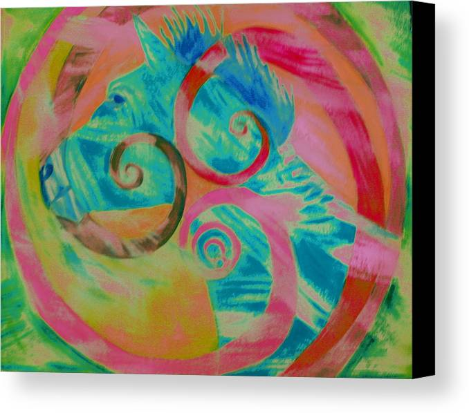 Horse Canvas Print featuring the painting Horse And Spirals In Pink by Kristin Darnell