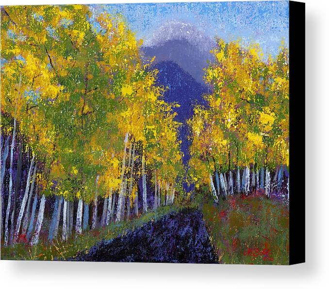 Purple And Yellow Paintings Canvas Print featuring the painting In Love With Fall River Road by Margaret Bobb