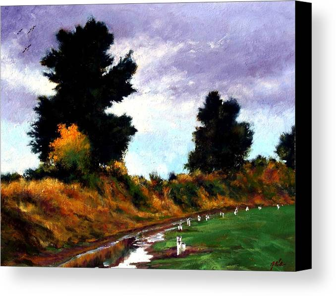 Landscape Canvas Print featuring the painting Inside The Dike by Jim Gola