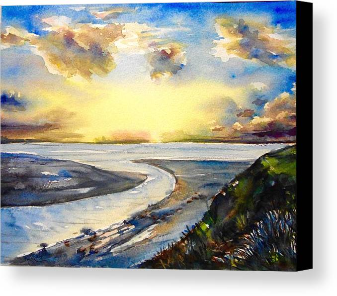 Ocean Canvas Print featuring the painting Island Sunset by Katerina Kovatcheva