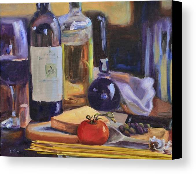 Italy Canvas Print featuring the painting Italian Kitchen by Donna Tuten
