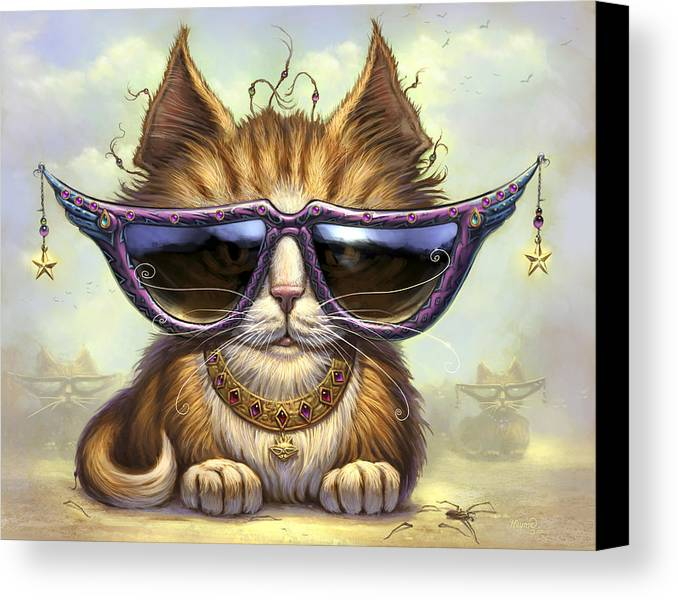 Cat Artwork. Cats Canvas Print featuring the painting Just Be by Jeff Haynie