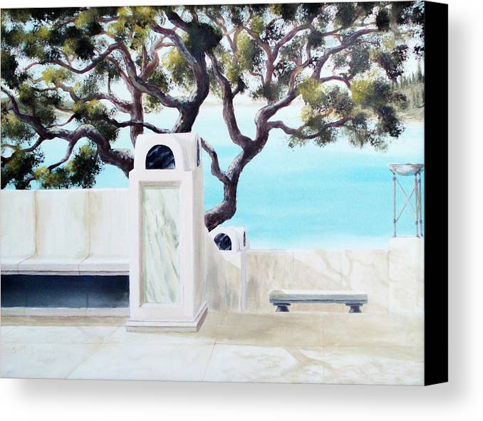 Landscape Canvas Print featuring the painting Marble Courtyard by Scott Alcorn