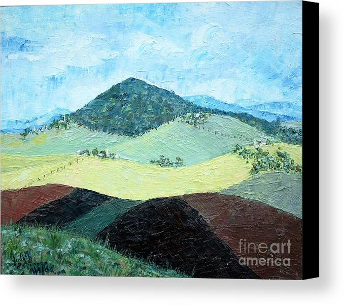Centered Mole Hill With Dark Foreground; Plowed Fields Canvas Print featuring the painting Mole Hill - Sold by Judith Espinoza
