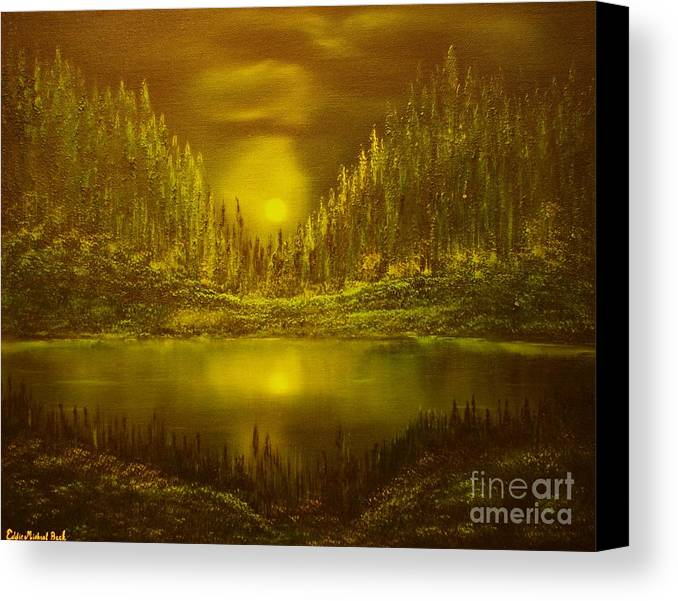 Evening Moonlight Canvas Print featuring the painting Moon Lake Reflection-original Sold- Buy Giclee Print Nr 33 Of Limited Edition Of 40 Prints by Eddie Michael Beck