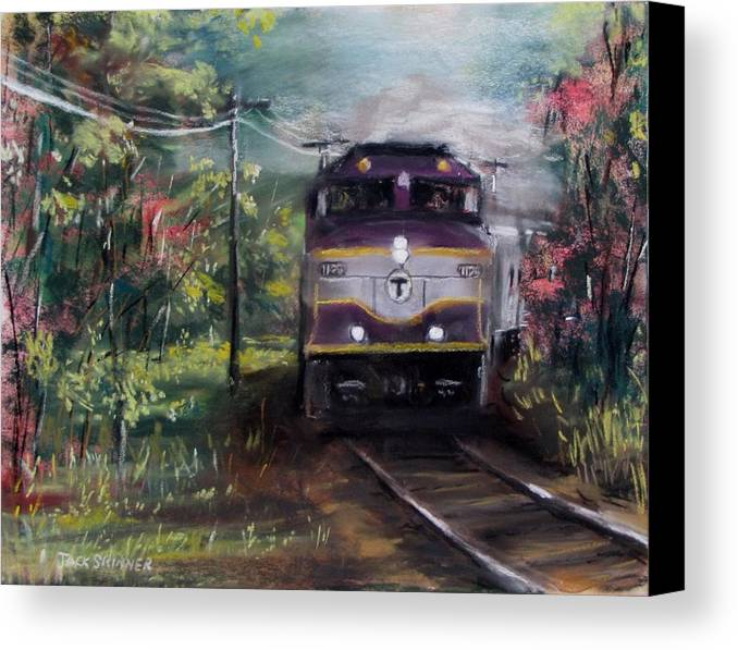 Train Canvas Print featuring the painting Morning Outbound by Jack Skinner