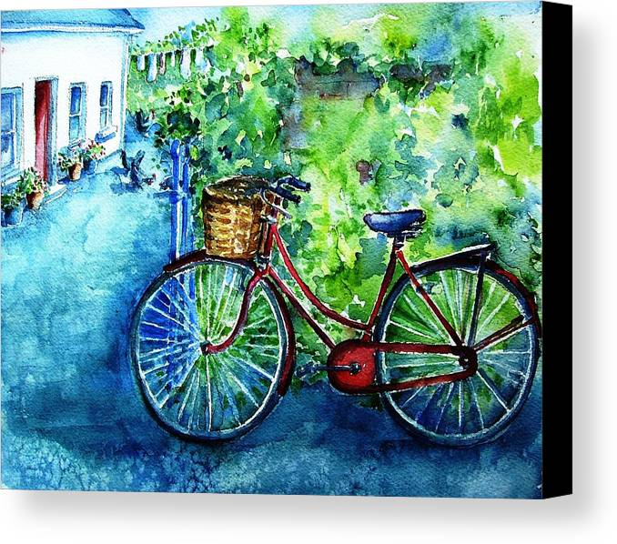 Bicycle Canvas Print featuring the painting My Red Bike by Trudi Doyle