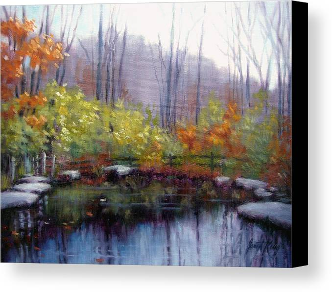 Autumn Canvas Print featuring the painting Nature Center Pond At Warner Park In Autumn by Janet King