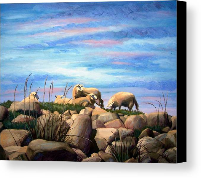 Sheep Canvas Print featuring the painting Norwegian Sheep by Janet King