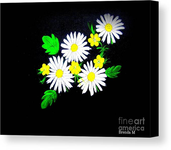 Daisy Canvas Print featuring the painting Out Of The Darkness Comes Light by Brenda Mayall