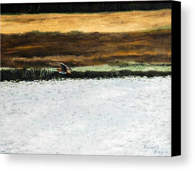 Wildlife Canvas Print featuring the painting Over The Marsh by Scott Alcorn