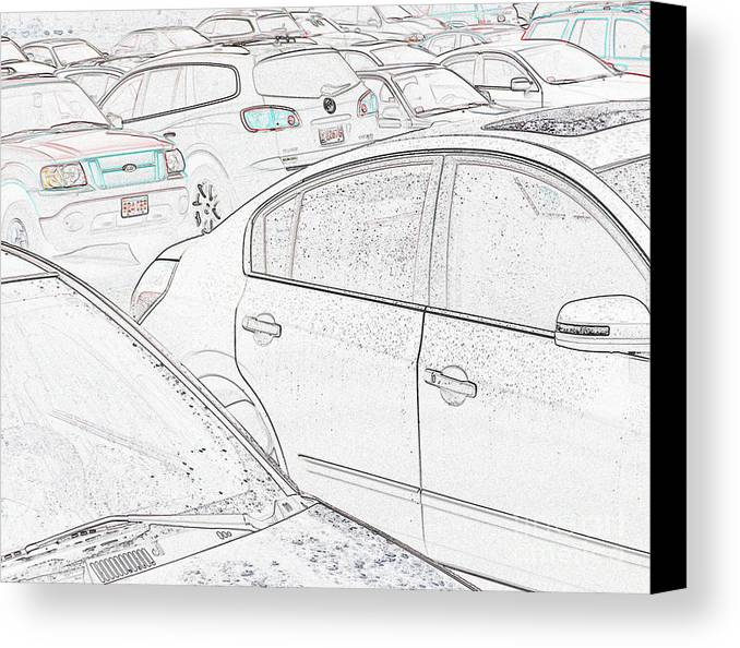 Parking Lot Canvas Print featuring the mixed media Parking Dilemna 2 by Bruce Tubman