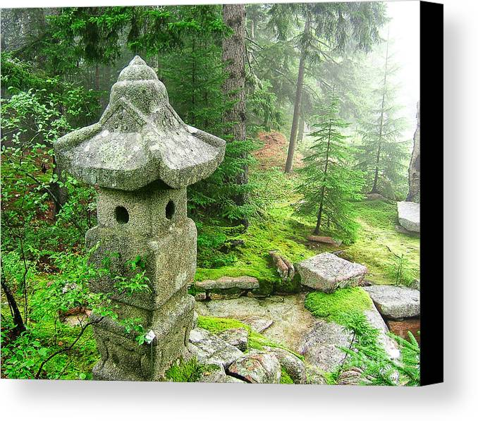 Peaceful Canvas Print featuring the photograph Peaceful Japanese Garden On Mount Desert Island by Edward Fielding