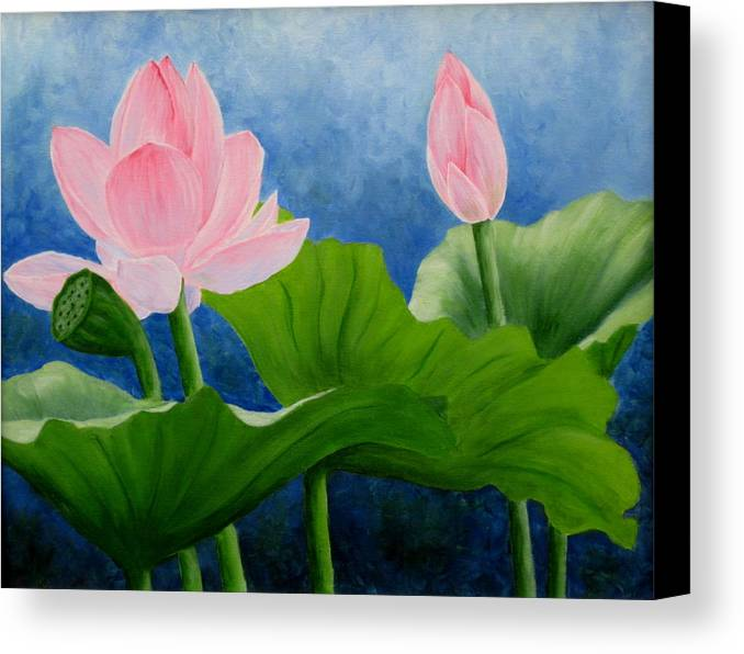 Oil Canvas Print featuring the painting Pink Lotus On Blue Sky by Darla Brock