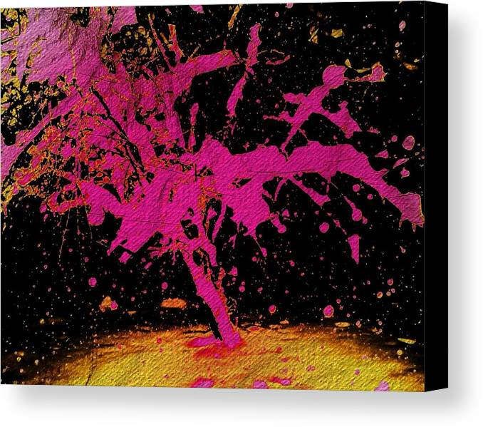 Tree Canvas Print featuring the painting Pink Snow by Jared Johnson