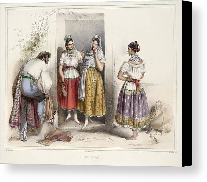 Mexican Canvas Print featuring the photograph Poblanas by British Library