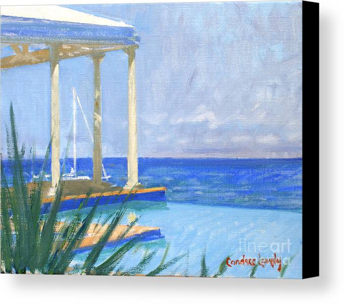 Infinity Pool Canvas Print featuring the painting Pool Cabana Morning by Candace Lovely