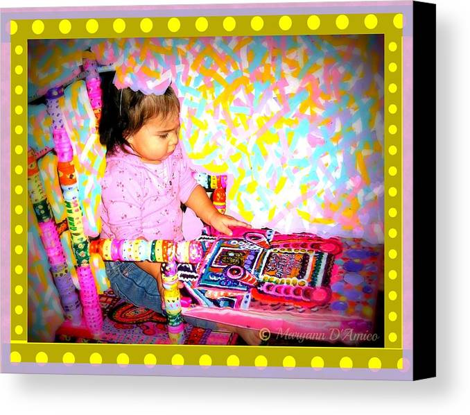 Child In A Rocking Chair Print Canvas Print featuring the painting Princess Bella In The Original Magical Rocking Chair by Maryann DAmico