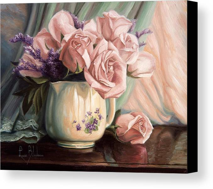 Still Life Canvas Print featuring the painting Rose Roses by Lucie Bilodeau