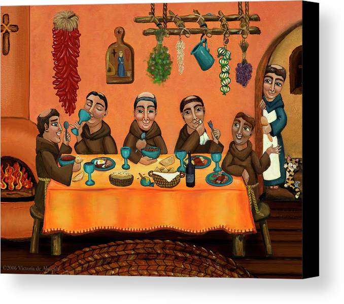 Hispanic Art Canvas Print featuring the painting San Pascuals Table by Victoria De Almeida