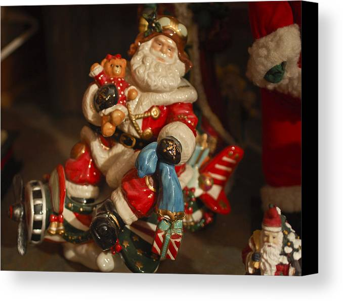Santa Claus Canvas Print featuring the photograph Santa Claus - Antique Ornament -05 by Jill Reger