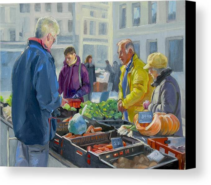 Painting Canvas Print featuring the painting Selling Vegetables At The Market by Dominique Amendola